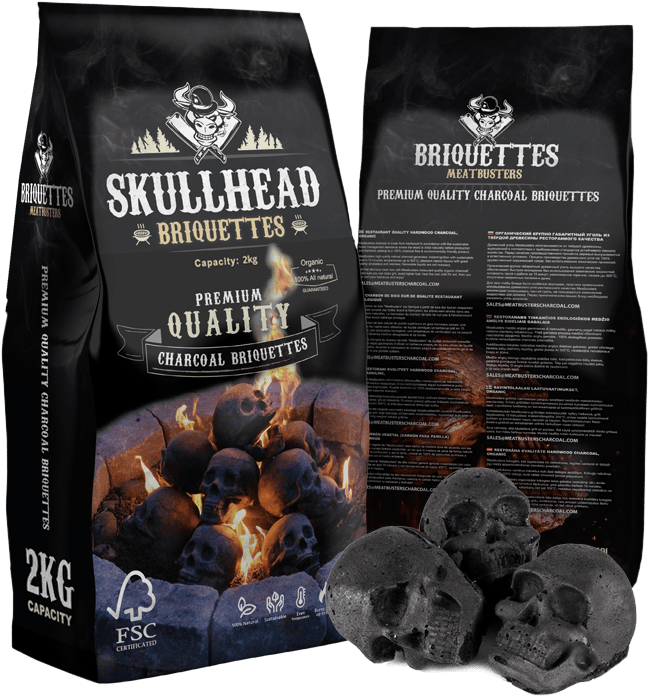 Meatbusterscharcoal.com - Charcoal supplier Skull charcoal briquettes